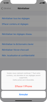 Apple iPhone X - Appareil - Réinitialisation de la configuration d