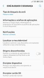 Samsung Galaxy A3 (2016) - Android Nougat - Segurança - Como ativar o código de bloqueio do ecrã -  5