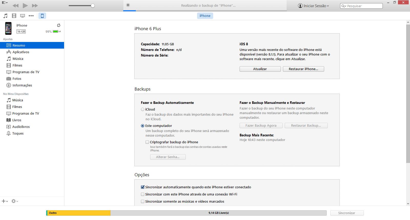 Apple iPhone versão iOS 5 - Memória - Como fazer backup da memória do seu celular - Etapa 6
