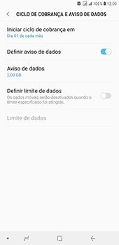 Samsung Galaxy J8 - Rede móvel - Como definir um aviso e limite de uso de dados - Etapa 7
