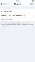 Apple iPhone iOS 8 - Chamadas - Como bloquear chamadas de um número específico - Etapa 9