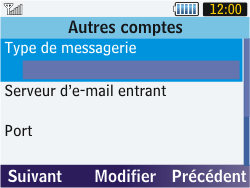 Samsung S3570 Chat 357 - E-mail - Configurer l