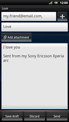 Sony Ericsson Xperia Arc S - Email - sending an email message - Step 10