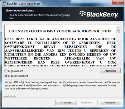 BlackBerry Leap - Software - Download en installeer PC synchronisatie software - Stap 5