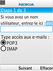 Nokia 6303i classic - E-mail - Configuration manuelle - Étape 8