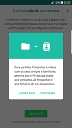 Samsung Galaxy S6 Edge - Android Nougat - Aplicações - Como configurar o WhatsApp -  7