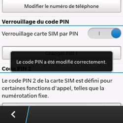 BlackBerry Q10 - Sécuriser votre mobile - Personnaliser le code PIN de votre carte SIM - Étape 10