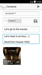 Huawei Ascend Y625 - Email - Sending an email message - Step 14