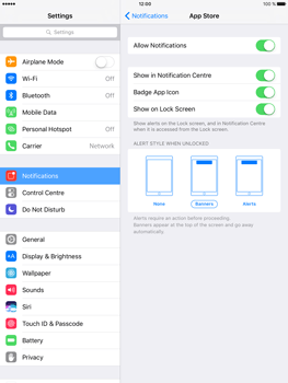 Apple iPad Mini 3 iOS 10 - iOS features - Customise notifications - Step 9