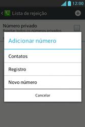LG E612 Optimus L5 - Chamadas - Como bloquear chamadas de um número específico - Etapa 9
