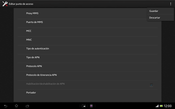 Sony Xperia Tablet Z - Internet - Configurar Internet - Paso 15