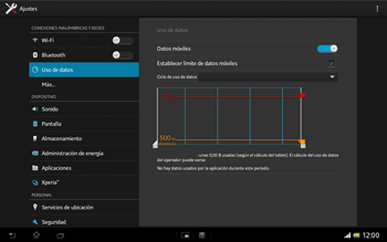 Sony Xperia Tablet Z - Internet - Ver uso de datos - Paso 8