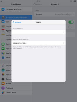 Apple iPad Mini 4 - iOS 11 - E-mail - Account instellen (IMAP met SMTP-verificatie) - Stap 19
