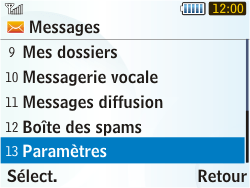 Samsung S3350 Chat 335 - Messagerie vocale - Configuration manuelle - Étape 4