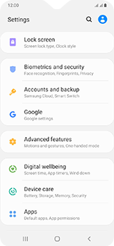 Samsung Galaxy A20e - Data - Create a backup with your account - Step 4