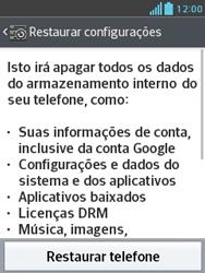LG E430 Optimus L3 II - Funções básicas - Como restaurar as configurações originais do seu aparelho - Etapa 6
