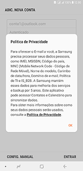Samsung Galaxy J8 - Email - Como configurar seu celular para receber e enviar e-mails - Etapa 10