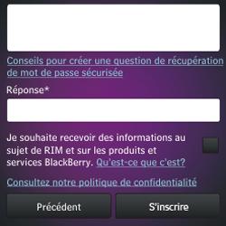 BlackBerry Q10 - Premiers pas - Créer un compte - Étape 16