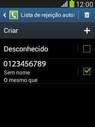 Samsung S5310B Galaxy Pocket Neo - Chamadas - Como bloquear chamadas de um número específico - Etapa 13