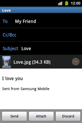 Samsung S5830i Galaxy Ace i - Email - Sending an email message - Step 14