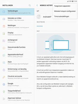 Samsung Galaxy Tab S2 9.7 - Android Nougat - WiFi - Mobiele hotspot instellen - Stap 7