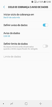 Samsung Galaxy J6 - Rede móvel - Como definir um aviso e limite de uso de dados - Etapa 9