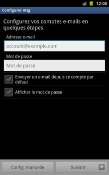 Samsung N7000 Galaxy Note - E-mail - Configuration manuelle - Étape 5