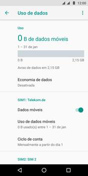 Motorola Moto E5 - Rede móvel - Como definir um aviso e limite de uso de dados - Etapa 6