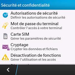 BlackBerry Q10 - Sécuriser votre mobile - Personnaliser le code PIN de votre carte SIM - Étape 5