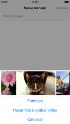 Apple iPhone 6 iOS 8 - Mensajería - Escribir y enviar un mensaje multimedia - Paso 9