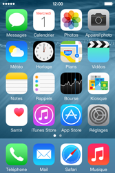 Apple iPhone 4S (iOS 8) - Contact, Appels, SMS/MMS - Envoyer un MMS - Étape 1
