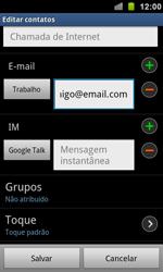 Samsung Galaxy S II - Contatos - Como criar ou editar um contato - Etapa 12