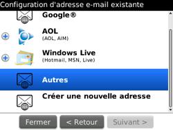 BlackBerry curve 3G - E-mails - Ajouter ou modifier un compte e-mail - Étape 8
