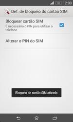 Sony Xperia E1 - Segurança - Como ativar o código PIN do cartão de telemóvel -  9