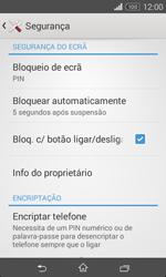 Sony Xperia E1 - Segurança - Como ativar o código de bloqueio do ecrã -  11