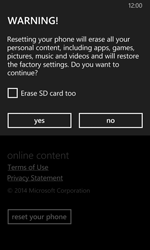 Nokia Lumia 630 - Device - Reset to factory settings - Step 7