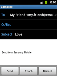 Samsung S5360 Galaxy Y - Email - Sending an email message - Step 7