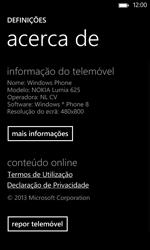 Nokia Lumia 625 - Repor definições - Como repor definições de fábrica do telemóvel -  6