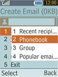 Samsung B2100 Xplorer - E-mail - Sending emails - Step 7