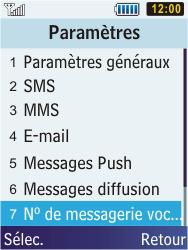 Samsung C3350 Xcover 2 - Messagerie vocale - Configuration manuelle - Étape 5