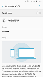 Samsung Galaxy J2 Prime - Wi-Fi - Como usar seu aparelho como um roteador de rede wi-fi - Etapa 11