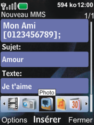 Nokia 6600i slide - MMS - Envoi d
