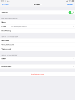 Apple ipad-pro-9-7-ios-12 - E-mail - Account instellen (POP3 met SMTP-verificatie) - Stap 24
