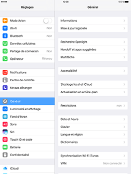 Apple iPad mini Retina iOS 10 - WiFi et Bluetooth - Configuration manuelle - Étape 3