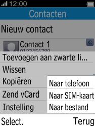 Alcatel 2045 (2045X) - Contacten en data - Contacten kopiëren van toestel naar SIM - Stap 6