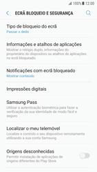 Samsung Galaxy S7 - Android Nougat - Segurança - Como ativar o código de bloqueio do ecrã -  5