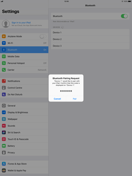 Apple Apple iPad Pro 12.9 - iOS 11 - WiFi and Bluetooth - Setup Bluetooth Pairing - Step 6
