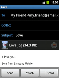 Samsung S5360 Galaxy Y - E-mail - Sending emails - Step 12