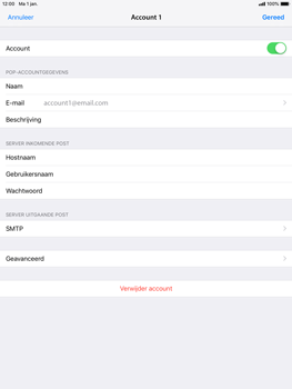 Apple ipad-mini-3-ios-12 - E-mail - Account instellen (POP3 zonder SMTP-verificatie) - Stap 16
