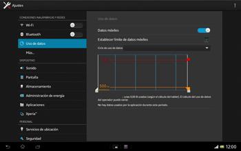 Sony Xperia Tablet Z - Internet - Ver uso de datos - Paso 7